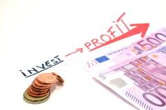 Investitionsgewinn lokalisiert auf weißem Hintergrund Stockfoto