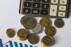 Investitionsstart veranschaulicht mit Münzen, Eierschale und Fortschrittsdiagramm Lizenzfreies Stockfoto