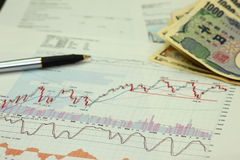 Investment. Paperwork, money and chart Royalty Free Stock Photography