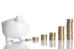 Investment. Piggy bank on a white background with some stack of coins Stock Photos