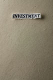Investment. Picture of a word investment Royalty Free Stock Photography