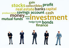 Investment. Businessmen thinking about making a good investment (overview of different kinds of investments stock illustration