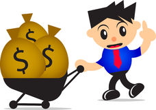 Investment. Illustration of cartoon businessman bring money for investment Royalty Free Stock Photo