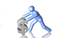 Investment. A 3d graphic pushing the dollar sign royalty free stock photos