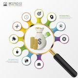 Investment analysis graphic design concept with magnifying glass. Vector Stock Image
