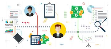 Investment analysis and new contract signature stock illustration