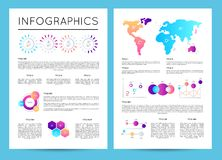 Investment analytics with various infographics. Data visualization, commercial business report, financial graph, stock index cartogram vector illustration Royalty Free Stock Photography