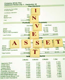 Investment Assets in Retirement Plan. This is a close up image of a 401(k) statement with the words invest and asset royalty free stock images