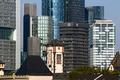 Investment Banking Center of Deutsche Bank AG. Frankfurt am Main, Germany - August 29, 2013: Skyline with Bank Towers of the Financial District including the Stock Photography