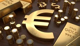 Investment and banking concept. Golden EURO symbol and coins. 3D rendered illustration Stock Photo