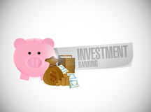 Investment Banking piggy bank and cash Stock Image