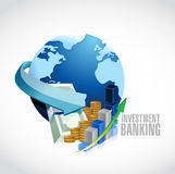 Investment Banking sign globe and business money Stock Image