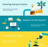 Investment Banner Set. Investment horizontal banner with internet deposit flat elements set isolated vector illustration Stock Image