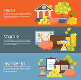 Investment Banner Set. Three colored horizontal investment banner set with description of profit startup and investment vector illustration Stock Photos