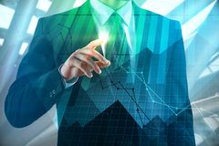 Investment, broker and banking concept. Businessman on abstract city background with forex chart. Double exposure stock illustration