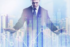 Investment, broker and growth concept. Businessman on abstract city background with forex chart. Double exposure Stock Images