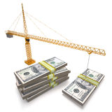 Investment. Building crane making dollars pile. Clipping path included vector illustration