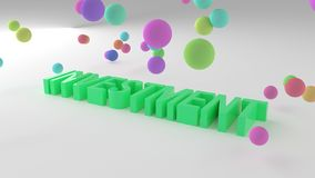Investment, business conceptual colorful 3D rendered words. Caption, artwork, positive & abstract. Investment, business conceptual colorful 3D rendered words vector illustration
