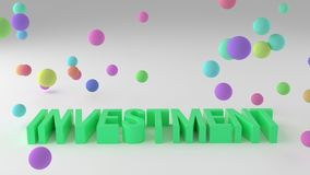 Investment, business conceptual colorful 3D rendered words. Graphic, artwork, creativity & caption. Investment, business conceptual colorful 3D rendered words vector illustration