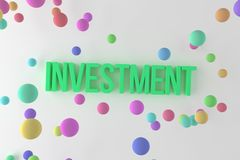 Investment, business conceptual colorful 3D rendered words. Illustration, style, background & alphabet. Investment, business conceptual colorful 3D rendered vector illustration