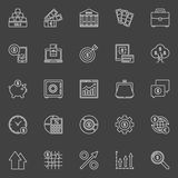 Investment and business outline icons. Vector collection of finance linear symbols on dark background Stock Photos