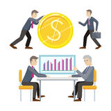 Investment and Business Planing Vector Concepts. Flat style. Man rolls giant gold dollar coin. Partners discuss financial results. Income, loan, savings, wages Stock Photo