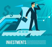 Investment business plans flat . Man looks at the far horizons of his business after investment stream on the sail of his ab. Investment business plans flat Stock Images