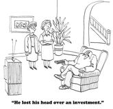 Investment. Cartoon about a man who lost his head over an investment Royalty Free Stock Photography
