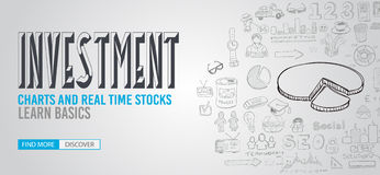 Investment Chart concept with Doodle design style Stock Photos