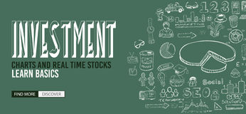 Investment Chart concept with Doodle design style Stock Images