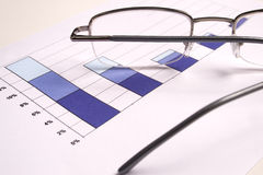 Investment Chart with glasses. Finances royalty free stock images