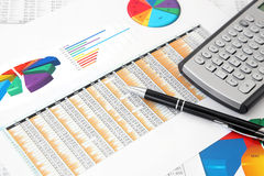 Investment Charts, Calculator and Pen royalty free stock photos