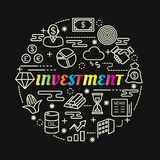 Investment colorful gradient with line icons set. Vector editable stroke Royalty Free Stock Photo