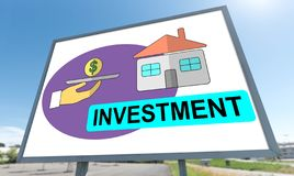 Investment concept on a billboard. Investment concept drawn on a billboard stock photography