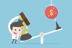 Investment concept. Businessman cartoon, vector Stock Photo