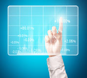 Investment concept,businessman with financial symbols. Coming from hand Stock Photos