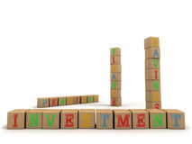 Investment concept - Child's play building blocks. A concept for easy financial services using a child's wooden alphabet building blocks. Emphasis on the word vector illustration