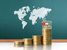 Coins graph stock market Royalty Free Stock Photo