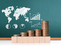 Coins graph stock market Stock Images