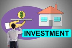 Investment concept drawn by a man. Investment concept drawn by a businessman royalty free stock photo