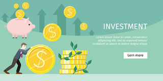 Investment Concept Flat Style Vector Illustration. Investment concept flat style vector. Smiling businessman rolls giant gold dollar coin near stack of money Royalty Free Stock Images