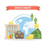 Investment concept illustration. Briefcase and money, bank and data Royalty Free Stock Images