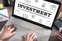 Investment concept on a laptop screen. Investment concept shown on a laptop screen stock image