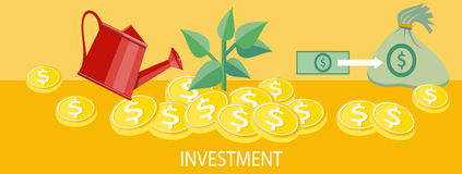 Investment concept. Money tree with coins watered from a watering can. Investment concept. Concept in flat design style. Can be used for web banners, marketing Stock Image