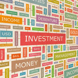 INVESTMENT. Concept related words in tag cloud. Conceptual info-text graphic. Word collage Royalty Free Stock Image