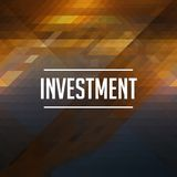 Investment Concept. Retro Label Design. Hipster Background Made of Triangles, Color Flow Effect Royalty Free Stock Images