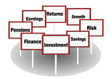 Investment concept signs Stock Photos