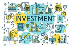Investment concept thin line style. Business, management, financial planning, finance, banking. Property and finance. Investment concept thin line style Royalty Free Stock Photography