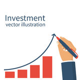 Investment concept. vector. Investment concept. Businessman hold pen draws a line graph arrow with increasing investment. Management strategy marketing. Chart Stock Image