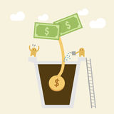 Investment Concept. Watering money. Investment Concept. Watering a small money plant Stock Photos